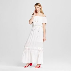 Target white off the shoulder Maxi Dress